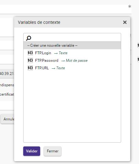 Liste des variables de contexte accessible lors de la conception d'une application